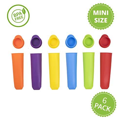 Premium 6 Mini Popsicle Ice Pop Silikonformen Mehrfarbig Eis Lolly Pop Formen Wiederverwendbar (6 Stück) Perfekt für Kinder mit Deckel BPA-frei Calippo Hohe Qualität