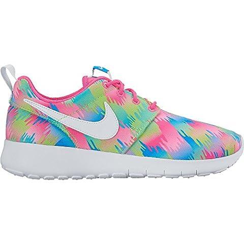 Nike Mädchen Roshe One Print (GS) Turnschuhe, Rosa (Rosa (Pink Blast / Weiß-Elctrc Green), 36 EU