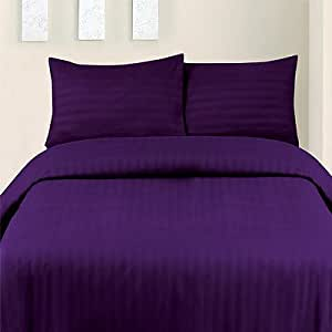 Micro Stripes Purple King Size Complete Duvet/Quilt Cover Set, Fitted Sheet With 2 Pillow Cases