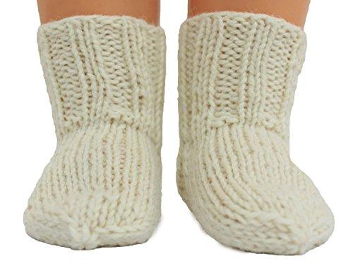 Shimasocks Baby Kinder Damen Herren Socken handgestrickt reine Schurwolle, Farben alle:wollweiß, Größe:18/19 -