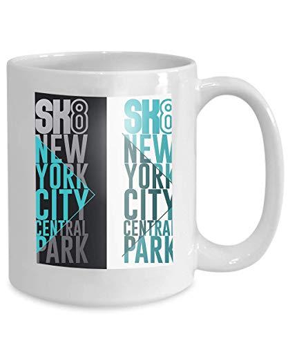 Mug Coffee Tea Cup Skateboarding Print New York Graphic Design Apparel Freestyle City Skate Board Typography Emblem Stamp 110z
