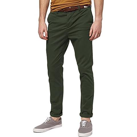 Italy Morn Hombres Chino Pantalones De Color Caqui Del Ajustado De Los Pantalones Del Estiramiento De La Tela De Sarga De Algodón Negro