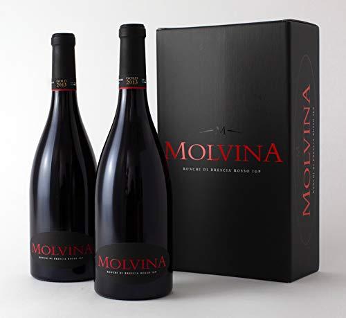 Molvina | ronchi di brescia rosso igp 2013 gold | vino rosso pregiato italiano | vino rosso intenso. invecchiato in botti di rovere di slavonia fino a 60 mesi (2 x 0.75 lt bottiglie)