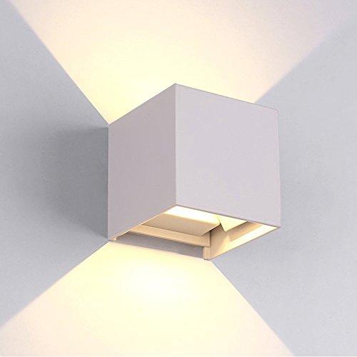 12w lampade da parete per esterno / interni led, applique da parete impermeabile ip65 lampada muro in alluminio angolo su e giù regolabile moderno design 3000k bianco caldo (bianco)
