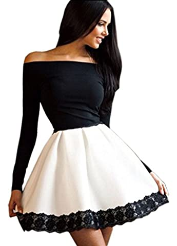 KaKing Women Off-shoulder Long Sleeve Lace Evening Cocktail Party Pleated Dress
