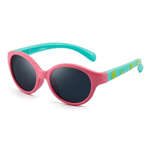 Kinder Rund Gummi Polarisiert Sonnenbrille Niedlich Schatten Mädchen Jungen 3 bis 12(Rosa/Polarisiertes Grau)