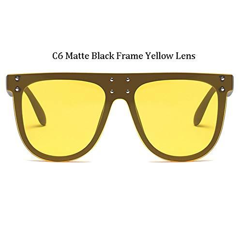 Kjwsbb Mode großen Rahmen Nieten Sonnenbrille Frauen Retro übergroßen Rahmen Lady Star Square Sonnenbrille