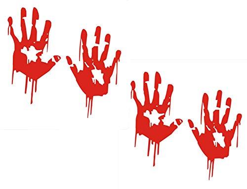 Fully 2 Paare(4stk.) Wasserdicht Blutige Hände Folie Heckscheibe Wand Auto Aufkleber Sticker Frontscheibenaufkleber Dekor (M: 15X23CM/5.9X9.05)