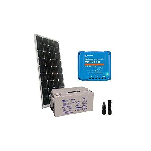 PuntoEnergia Italia - Kit Solare Pro2 100W 12V Pannello Fotovoltaico Mono Regolatore 10A Batteria 60Ah - KSP2-100M-12-B60-AVF