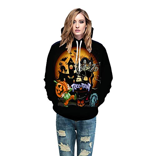 iHENGH Top Damen,Women Männer Herbst Frauen Herren Paare 3D Gedruckt Halloween Cosplay Pullover Hoodies Tops Blusen T Shirt Pullover Crop...