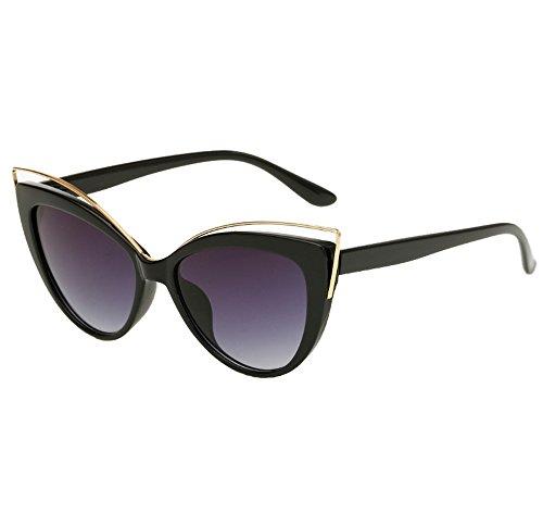 Damen Mädchen Archaistisch Mode Draussen UV400 Cateye Sonnenbrille Eyewear, Schwarz A