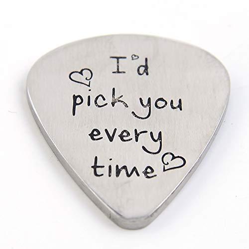 Metall Gitarre Plektrum Plektron Geschenk für Ihn Männer Geburtstag Geschenk für Musiker Musiker Geschenk Jahrestag Valentinstag Weihnachten Geschenk I'd Pick You Every Time