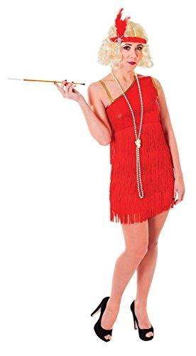 Ladies Black Red Glam Flapper 1920s 20s Hen Do Fancy Dress Costume Outfit 10-12-14 - Glam Flapper Kostüm Für Erwachsene