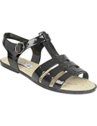 New Womens Truffle Black Jelly Casual Flats Sandals Buckle Strap Shoe Size 3-8
