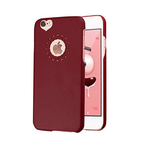 Phone case & Hülle Für IPhone 6 Plus / 6s Plus, Gravur Blume Kunststoff Schutzhülle ( Color : Purple ) Dark Red