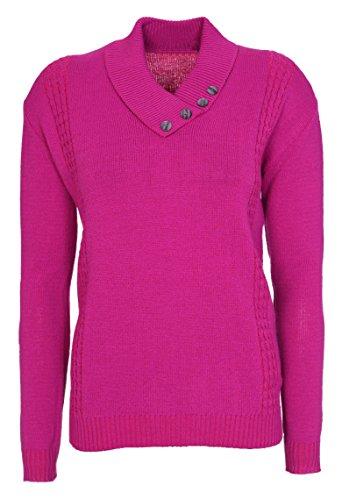 Nuovo Womens Ladies Pulsante colletto a maniche lunghe maglione pullover maglione Plus Size 12141618 Barbie Pink