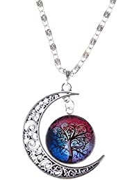 Joyería Collar Cadena Colgante Media Luna de árbol Vida Novedad Cabochon Cristal Mujeres