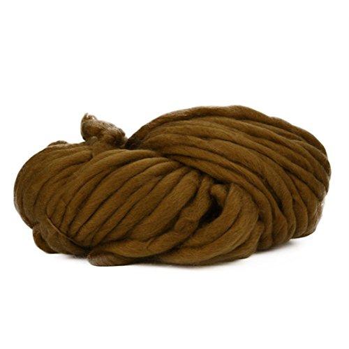 Routinfly Super Weiche Wolle Garn sperrige Arm Stricken Wolle Roving Häkeln DIY 35.2M (±2M) (Khaki) (Cashmere-arm)