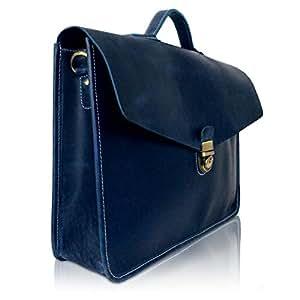 Corno d´Oro Herren Leder Aktentaschen, große Umhängetasche bis 15.6 Zoll Laptoptasche, leichte Schultertasche Vintage Echtleder blau PB36