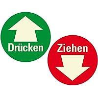 Türschild Sticker DRÜCKEN Aufkleber 200 mm ZIEHEN Warnschild