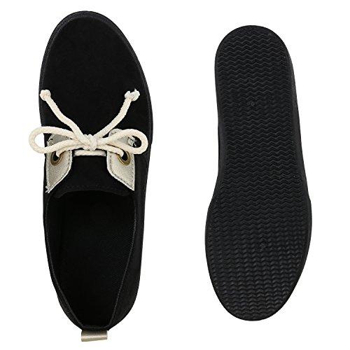 Damen Sneakers Metallic Sportschuhe Freizeit Schuhe Schnürer Schwarz