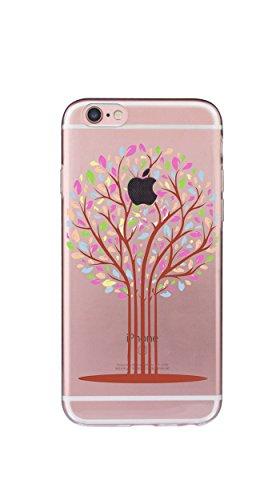 Case Cover Per iphone 6 6S 4.8 pollici Trasparente TPU Gel Silicone Bumper Protettivo Skin Custodia Ultra-sottile Flessibile morbido Protettiva Shell(Fiori ananas) albero