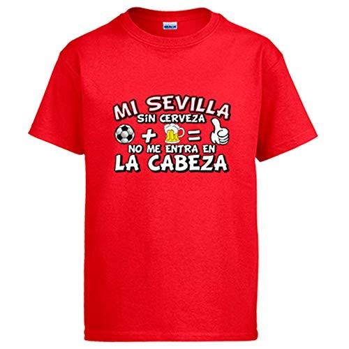 Camiseta Mi Sevilla sin Cerveza no me entra en la Cabeza - Rojo, L