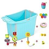 GY Faltende Badewanne, Tragbare Duschwanne, Groß Kunststoff Baby Badewanne Badefass Für Kinder Badewanne Für Den Haushalt, 2 Farben, 75 * 48 * 54 cm (Farbe : Blau)