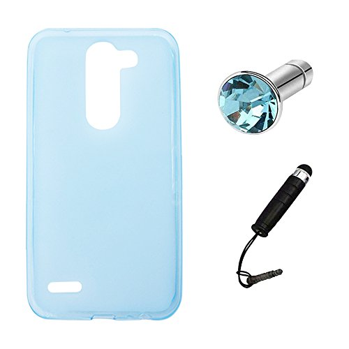 Lusee® Silikon TPU Hülle für LG X Mach/Fast / LG K600Y 5.5 Zoll Schutzhülle Case Cover Protektiv Silicone halb transparent blau
