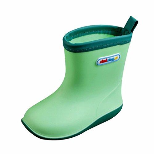 JERFER Unisex-Kinder Jungen Mädchen Stiefel Wasserabweisend Kinderstiefel Pop Federleichte Gummistiefel (25, Grün)