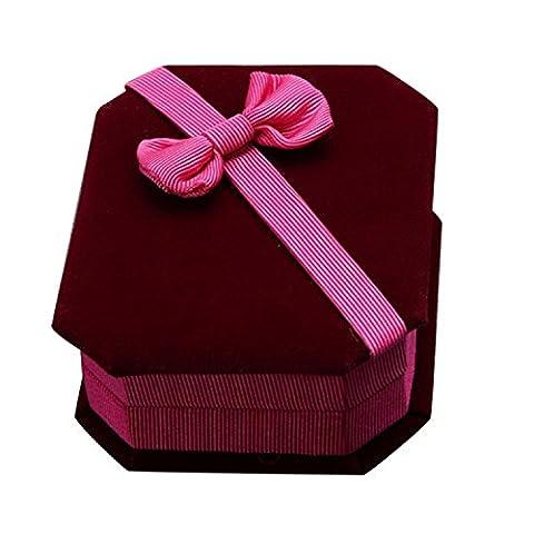 PU Ran® Schleife Biber Halskette Ring Ohrringe Display Case Aufbewahrungsbox Schmuck Geschenkbox Schmuck