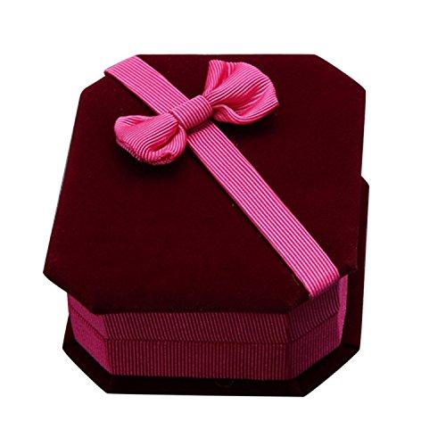PU Ran® Schleife Biber Halskette Ring Ohrringe Display Case Aufbewahrungsbox Schmuck Geschenkbox Schmuck (Storage-schmuck-box Ring)