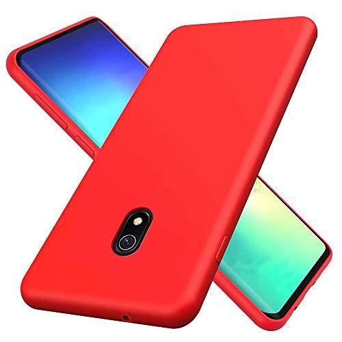 KSHOP Hülle Kompatibel mit Xiaomi Redmi 8a Flüssiges Silikon, Ultraleichte Soft TPU Schutzhülle Stoßfeste/Kratzfeste Bumper Handy Case - Rot