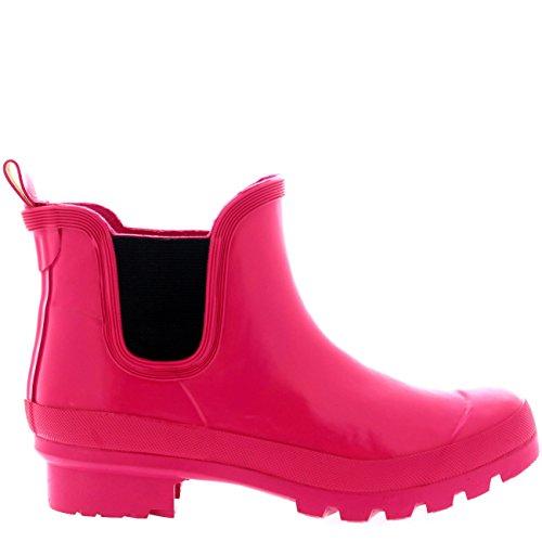 Damen Original Chelsea Gloss Festival Winter Schnee Regen Gummistiefel Stiefel Dark Fushia
