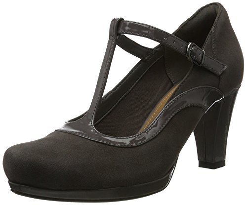 Clarks Damen Chorus Pitch T-Spangen Pumps, Grau (Dark Grey Combi), 40 EU -