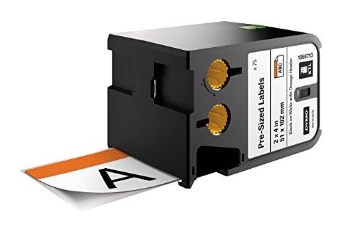 Dymo XTL etiquetas de seguridad de tamaño predefinido de 51mmx102mm, de color negro sobre fondo blanco con encabezado naranja