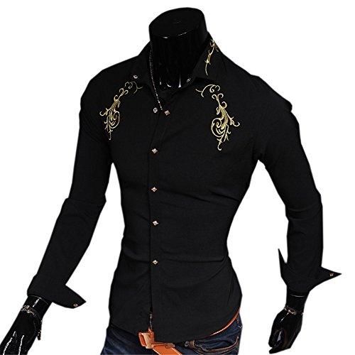 Haroty Uomo Camicie Maniche Lunghe Slim Fit Moda Casual Oro Ricamati Men Shirts Fashion Personalizzate Formale e Business Nero