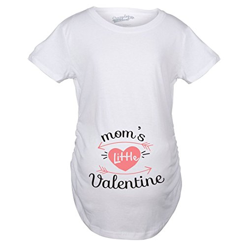Crazy Dog Tshirts Maternity Moms Little Valentine Pregnancy Tshirt Cute Tee For Expecting Mother (White) -XXL - Damen - XXL (T-shirt Maternity Mom)