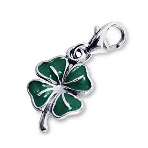 Laimons Damen-Charm Anhänger Kleeblatt glanz grün Sterling Silber 925