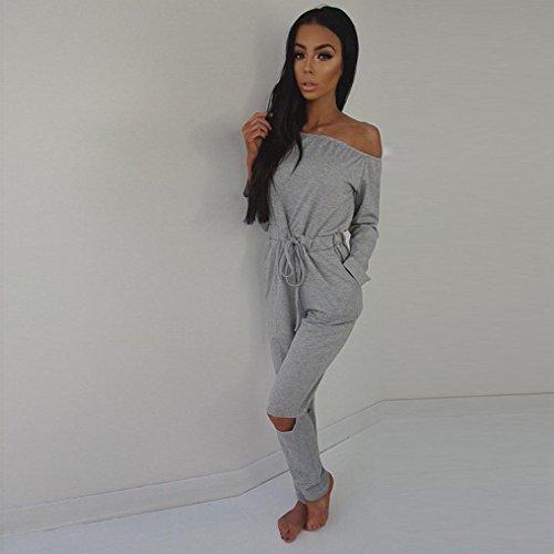 Sannysis DamenClubwear Playsuit Partei Jumpsuit Kleid Lange Hose Grau