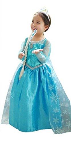 ELSA & ANNA® Princesa Disfraz Traje Parte Las Niñas Vestido (6-7 Años)