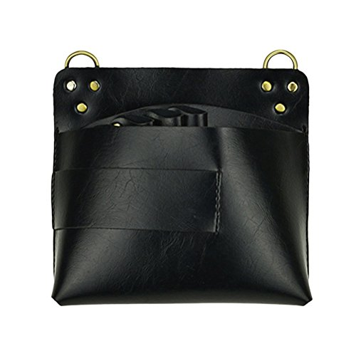 Frcolor Ceinture de poche d'outil pour les stylistes de salon Véritables supports en cuir Ciseaux de coupe Peignes Pinceaux Clips (Noir)