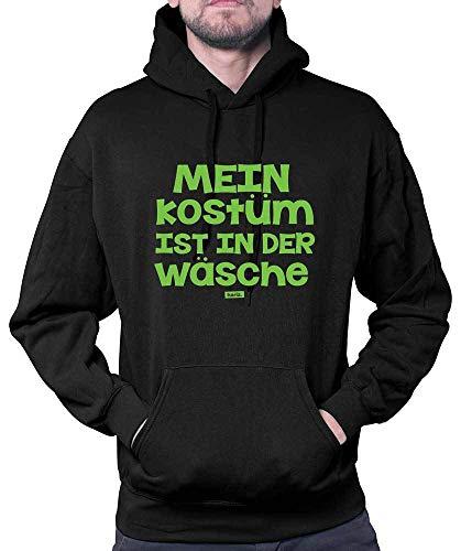 HARIZ Herren Hoodie Mein Kostüm Ist In Der Wäsche Karneval Verkleidung Plus Geschenkkarten Schwarz L