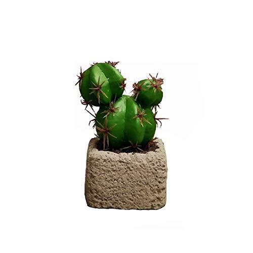 ktus Wohnkultur, Gefälschte Kaktus Statue Faux Pflanze Skulptur Realistische Kaktus Pflanzen Mit Harz Topf Für Home Garden Office Floor-b 6.5x6.5x14cm(3x3x6inch) ()
