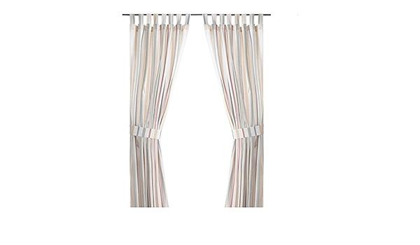 140x300cm IKEA ROSENKVITTEN 2 Gardinen Raffhalter in bunt; 100/% Baumwolle;