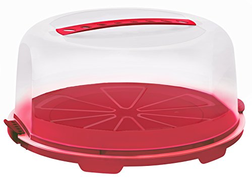 """Rotho Tortenglocke \""""Fresh\"""" - Kuchen-Transportbox aus Kunststoff (PP), mit sicherem Verschluss und bequemem Tragegriff, spülmaschinengeeignet - rot/transparent, ca. 35,5x34,5x16,5 cm (LxBxH)"""