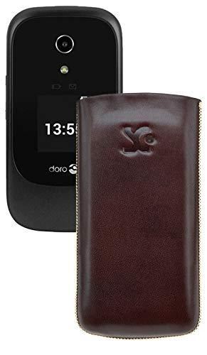 Suncase Original Tasche kompatibel mit Doro 7060 Leder Etui Handytasche Ledertasche Schutzhülle Case Hülle - Lasche mit Rückzugfunktion* In Braun