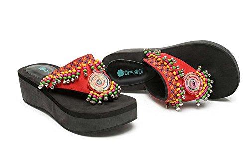 L&Y Sandali a punta aperta delle donne 2017 Estate New Fashion National Wind Colori in pendenza in pendenza Spessore Bottom piattaforma dell'acqua Pieghevole a tacco medio People Toe People Cool Panto Rosso
