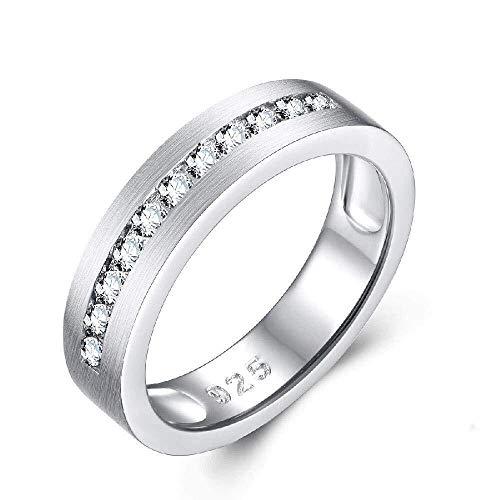 QINGZHOUQI Versprechen Ring for Frauen Weißes Gold Überzogen Silber Zirkone Ring Modeschmuck (Color : U, Größe : 10#) (Versprechen Ringe Für Sie Unter 100)