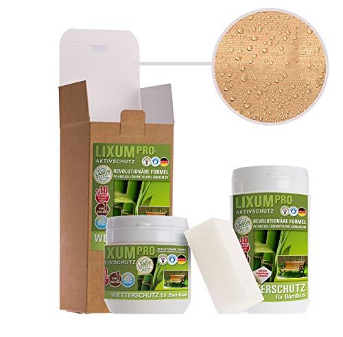 LIXUM WETTERSCHUTZ BAMBUS BIO LASUR (farblos) 335 ml = 10m² - natürlicher Langzeitschutz für Holz, hält bis zu 10 Jahren, nur 1 Anstrich nötig. Mit integriertem UV-Schutz und ohne Weichmacher.